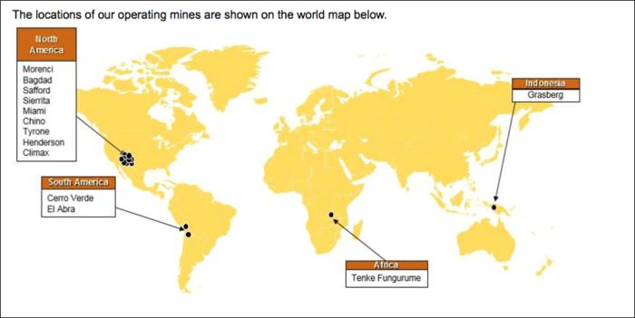 Peta Persebaran Tambang Freeport McMoran di Dunia